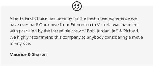 Image of a positive moving company review from very happy customers