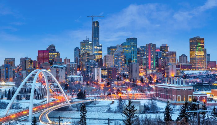 Edmonton downtown skyline just after sunset in the winter.